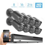 Amcrest Full-HD 1080P 16CH Video Security System w/ Eight 2.0MP (1920TVL) Outdoor IP67 Bullet Cameras, 98ft Night Vision, Pre-Installed 2TB Hard Drive, (AMDV108116-8B-B-2TB)