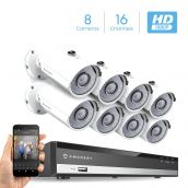 Amcrest Full-HD 1080P 16CH Video Security System w/ Eight 2.0 MP (1920TVL) Outdoor IP67 Bullet Cameras, 66ft Night Vision, Hard Drive Not Included, (AMDV108116-8B-W)