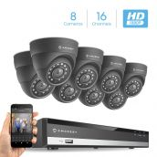 Amcrest Full-HD 1080P 16CH Video Security System w/ Eight 2.0 MP (1920TVL) Outdoor IP67 Dome Cameras, 66ft Night Vision, Hard Drive Not Included, (AMDV108116-8D-B)