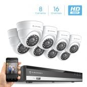 Amcrest Full-HD 1080P 16CH Video Security System w/ Eight 2.0 MP (1920TVL) Outdoor IP67 Dome Cameras, 66ft Night Vision, Hard Drive Not Included, (AMDV108116-8D-W)