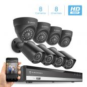 Amcrest Full-HD 1080P 8CH Video Security System with Eight 2.0MP (1920TVL) Outdoor IP67 Bullet & Dome Cameras, 98ft Night Vision, Hard Drive Not Included (AMDV10818-4B4D-B)