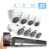Amcrest Full-HD 1080P 8CH Video Security System w/Eight 2.0MP (1920TVL) Outdoor IP67 Bullet & Dome Cameras, 98ft Night Vision, Pre-Installed 1TB Hard Drive (AMDV10818-4B4D-W-1TB)