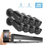 Amcrest Full-HD 1080P 8CH Video Security System w/ Eight 2.0MP (1920TVL) Outdoor IP67 Bullet Cameras, 98ft Night Vision, Hard Drive Not Included, (AMDV10818-8B-B)