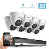 Amcrest Full-HD 1080P 8CH Video Security System w/ Eight 2.0 MP (1920TVL) Outdoor IP67 Dome Cameras, 66ft Night Vision, Hard Drive Not Included, (AMDV10818-8D-W)
