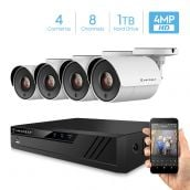 Amcrest UltraHD 4-Megapixel 8CH Video Security System with Four 4.0MP Outdoor IP67 Plastic Bullet Cameras, 98ft Night Vision, Pre-Installed 1TB Hard Drive, (AMDV40M8-4B-W)