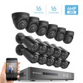Amcrest UltraHD 4MP 16CH Video Security System - Sixteen 3840TVL 4.0-Megapixel Weatherproof IP67 Bullet & Dome Cameras, No Hard Drive Included, HD Over Analog/BNC, Smartphone View (Black)