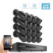 Amcrest 4MP Security System w/ 16CH DVR - (16) 4-Megapixel Weatherproof IP67 Bullet Cameras, No Hard Drive Included, HD Over Analog/BNC, Smartphone View, AMDV4M16-16B-B (Black)