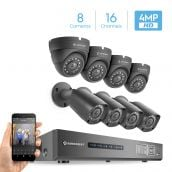 Amcrest UltraHD 4MP 16CH Video Security System - Eight 3840TVL 4.0-Megapixel Weatherproof IP67 Bullet & Dome Cameras, No Hard Drive Included, HD Over Analog/BNC, Smartphone View (Black)