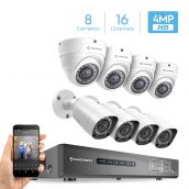 Amcrest UltraHD 4MP 16CH Video Security System - Eight 3840TVL 4.0-Megapixel Weatherproof IP67 Bullet & Dome Cameras, No Hard Drive Included, HD Over Analog/BNC, Smartphone View (White)