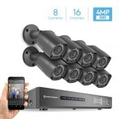 Amcrest UltraHD 4MP 16CH Video Security System - Eight 3840TVL 4.0-Megapixel Weatherproof IP67 Bullet Cameras, No Hard Drive Included, HD Over Analog/BNC, Smartphone View, AMDV4M16-8B-B (Black)