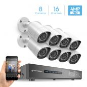 Amcrest UltraHD 4MP 16CH Video Security System - Eight 3840TVL 4.0-Megapixel Weatherproof IP67 Bullet Cameras, No Hard Drive Included, HD Over Analog/BNC, Smartphone View, AMDV4M16-8B-W (White)