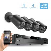 Amcrest UltraHD 4MP 4CH Video Security System - Four 4MP Weatherproof IP67 Bullet Cameras, 98ft IR LED Night Vision, Hard Drive Not Included, HD Over Analog/BNC, Smartphone View, AMDV4M4-4B-B (Black)