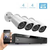 Amcrest UltraHD 4MP 4CH Video Security System - Four 3840TVL 4.0-Megapixel Weatherproof IP67 Bullet Cameras, 98ft IR LED Night Vision, No Hard Drive Included, HD Over Analog/BNC, Smartphone View (White)