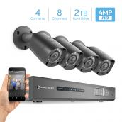 Amcrest UltraHD 4MP 8CH Video Security System - Four 4MP Weatherproof IP67 Bullet Cameras, 98ft IR LED Night Vision, Pre-Installed 2TB Hard Drive, HD Over Analog/BNC, Smartphone View (Black)