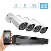 Amcrest UltraHD 4MP Security System w/ 4K 8CH DVR - Four 4.0-Megapixel Weatherproof IP67 Bullet Cameras, 98ft IR LED Night Vision, Pre-Installed 1TB HDD, HD Over Analog/BNC, Smartphone View (White)
