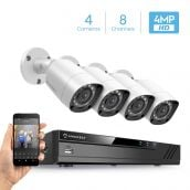 Amcrest UltraHD 4MP Security System w/ 4K 8CH DVR - Four 4.0-Megapixel Weatherproof IP67 Bullet Cameras, 98ft IR LED Night Vision, NO HDD Included, HD Over Analog/BNC, Smartphone View (White)