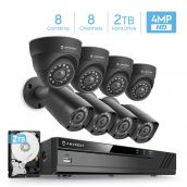 Amcrest UltraHD 4MP 8CH Video Security System - Eight 4MP Weatherproof IP67 Bullet & Dome Cameras, Pre-Installed 2TB Hard Drive, HD Over Analog/BNC, Smartphone View (Black)