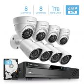 Amcrest UltraHD 4MP Security System w/ 4K 8CH DVR - Eight 4.0-Megapixel Weatherproof IP67 Bullet & Dome Cameras, Pre-Installed 1TB Hard Drive, HD Over Analog/BNC, Smartphone View (White)