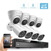 Amcrest UltraHD 4MP Security System w/ 4K 8CH DVR - Eight 4.0-Megapixel Weatherproof IP67 Bullet & Dome Cameras, NO HDD Included, HD Over Analog/BNC, Smartphone View (White)