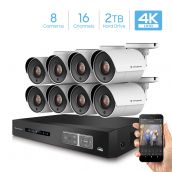 Amcrest UltraHD 4K 16-Channel Video Security System w/ Eight 4K (8-Megapixel) Outdoor IP67 Bullet Cameras, 100 ft Night Vision, Pre-Installed 2TB Hard Drive, (AMDV8M16-8B-W)