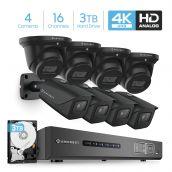 Amcrest 4K Security Camera System 16CH 8MP Video DVR with 8X 4K 8MP Indoor Outdoor Weatherproof IP67 Bullet & Dome Cameras, 2.8mm Lens, Pre-Installed 3TB Hard Drive, for Home Business (AMDV8M16-4B4D-B-3TB)