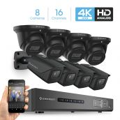 Amcrest 4K Security Camera System 16CH 8MP Video DVR with 8X 4K 8-Megapixel Indoor Outdoor Weatherproof IP67 Bullet & Dome Cameras, 2.8mm Lens, Hard Drive Not Included, for Home Business (AMDV8M16-4B4D-B)