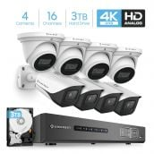 Amcrest 4K Security Camera System 16CH 8MP Video DVR with 8X 4K 8MP Indoor Outdoor Weatherproof IP67 Bullet & Dome Cameras, 2.8mm Lens, Pre-Installed 3TB Hard Drive, for Home Business (AMDV8M16-4B4D-W-3TB)