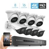 Amcrest 4K Security Camera System 16CH 8MP Video DVR with 8X 4K 8-Megapixel Indoor Outdoor Weatherproof IP67 Bullet & Dome Cameras, 2.8mm Lens, Hard Drive Not Included, for Home Business (AMDV8M16-4B4D-W)