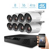 Amcrest UltraHD 4K 16-Channel Video Security System w/ Eight 4K (8-Megapixel) Outdoor IP67 Bullet Cameras, 100 ft Night Vision, Pre-Installed 4TB Hard Drive, (AMDV8M16-8B-W-4TB)