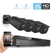 Amcrest 4K Security Camera System 8CH 8MP Video DVR with 4X 4K 8-Megapixel Indoor Outdoor Weatherproof IP67 Cameras, 2.8mm Lens, Hard Drive Not Included, for Home Business (AMDV8M8-4B-B)