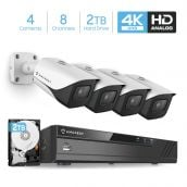 Amcrest 4K Security Camera System 8CH 8MP Video DVR with 4X 4K 8-Megapixel Indoor Outdoor Weatherproof IP67 Cameras, 2.8mm Lens, Pre-Installed 2TB Hard Drive, for Home Business, (AMDV8M8-4B-W-2TB)