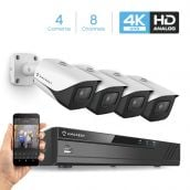 Amcrest 4K Security Camera System 8CH 8MP Video DVR with 4X 4K 8-Megapixel Indoor Outdoor Weatherproof IP67 Cameras, 2.8mm Lens, Hard Drive Not Included, for Home Business (AMDV8M8-4B-W)