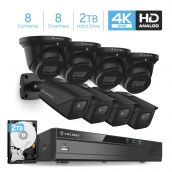 Amcrest 4K Security Camera System 8CH 8MP Video DVR with 8X 4K 8MP Indoor Outdoor Weatherproof IP67 Bullet & Dome Cameras, 2.8mm Lens, Pre-Installed 2TB Hard Drive, for Home Business (AMDV8M8-4B4D-B-2TB)