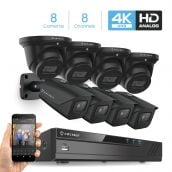 Amcrest 4K Security Camera System 8CH 8MP Video DVR with 8X 4K 8-Megapixel Indoor Outdoor Weatherproof IP67 Bullet & Dome Cameras, 2.8mm Lens, Hard Drive Not Included, for Home Business (AMDV8M8-4B4D-B)