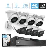 Amcrest 4K Security Camera System 8CH 8MP Video DVR with 8X 4K 8MP Indoor Outdoor Weatherproof IP67 Bullet & Dome Cameras, 2.8mm Lens, Pre-Installed 2TB Hard Drive, for Home Business (AMDV8M8-4B4D-W-2TB)