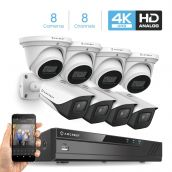 Amcrest 4K Security Camera System 8CH 8MP Video DVR with 8X 4K 8MP Indoor Outdoor Weatherproof IP67 Bullet & Dome Cameras, 2.8mm Lens, Hard Drive Not Included, for Home Business, White (AMDV8M8-4B4D-W)