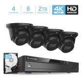 Amcrest 4K Security Camera System 8CH 8MP Video DVR with 4X 4K 8-Megapixel Indoor Outdoor Weatherproof IP67 Cameras, 2.8mm Lens, Pre-Installed 2TB Hard Drive, for Home Business (AMDV8M8-4D-B-2TB)