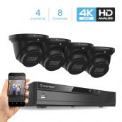 Amcrest 4K Security Camera System 8CH 8MP Video DVR with 4X 4K 8-Megapixel Indoor Outdoor Weatherproof IP67 Cameras, 2.8mm Lens, Hard Drive Not Included, for Home Business (AMDV8M8-4D-B)