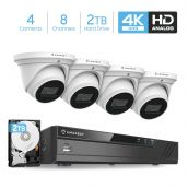 Amcrest 4K Security Camera System 8CH 8MP Video DVR with 4X 4K 8MP Indoor Outdoor Weatherproof IP67 Cameras, 2.8mm Lens, Pre-Installed 2TB Hard Drive, for Home Business, White (AMDV8M8-4D-W-2TB)