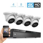 Amcrest 4K Security Camera System 8CH 8MP Video DVR with 4X 4K 8-Megapixel Indoor Outdoor Weatherproof IP67 Cameras, 2.8mm Lens, Hard Drive Not Included, for Home Business, White (AMDV8M8-4D-W)