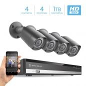 Amcrest HD 1080P-Lite 4CH Video Security Camera System w/ Four 1280TVL (720P) IP67 Outdoor Cameras, 65ft Night Vision, Pre-Installed 1TB Hard Drive, Supports AHD, CVI, TVI, 960H & IP Cameras (AMDVTENL4-4B-B-1TB)