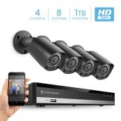 Amcrest HD 1080P-Lite 8CH Video Security Camera System -Four 1280x720P IP67 Outdoor Cameras, 98ft Night Vision, Pre-Installed 1TB HDD, Supports AHD, CVI, TVI, 960H & IP Cameras (AMDVTENL8-4B-B-1TB)