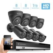 Amcrest HD 1080P-Lite 8CH Video Security Camera System w/ 8 720P IP67 Outdoor Cameras, 98ft Night Vision, Pre-Installed 1TB HDD, Supports AHD, CVI, TVI, 960H & IP Cameras (AMDVTENL8-4B4D-B-1TB)