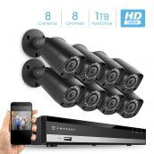 Amcrest HD 1080P-Lite 8CH Video Security Camera System w/ Eight 1280x720 IP67 Outdoor Cameras, 65ft Night Vision, Pre-Installed 1TB HDD, Supports AHD, CVI, TVI, 960H & IP Cameras (AMDVTENL8-8B-B-1TB)