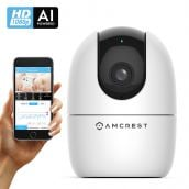 Amcrest SmartHome AI Human Detection WiFi Camera, Indoor Pan/Tilt Wireless IP Camera, Baby Monitor Mode, Auto-Tracking, Home Security Camera with Night Vision, Two-Way Audio, Nanny Cam ASH21-W (White)