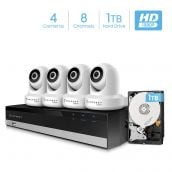 Amcrest 2MP Security Camera System w/ 4K 8CH NVR, (4) x 2-Megapixel Dome WiFi IP Cameras, Pan/Tilt Surveillance, Two-Way Audio, Pre-Installed 1TB Hard Drive, NV2108-IP2M-841W4-1TB (White)