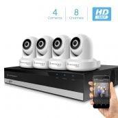 Amcrest 2MP Security Camera System w/ 4K 8CH NVR, (4) x 2-Megapixel Dome WiFi IP Cameras, Pan/Tilt Surveillance, Two-Way Audio, NV2108-IP2M-841W4 (White)