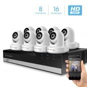 Amcrest 2MP Security Camera System w/ 4K 16CH NVR, (8) x 2-Megapixel Dome WiFi IP Cameras, Pan/Tilt Surveillance, Two-Way Audio, NV2116-IP2M-841W8 (White)