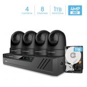 Amcrest 4MP Security Camera System w/ 4K 8CH NVR, (4) x 4-Megapixel Dome WiFi IP Cameras, Pan/Tilt Surveillance, Dualband 5ghz / 2.4ghz, Two-Way Audio, Pre-Installed 1TB Hard Drive, NV4108-IP4M-1051B4-1TB (Black)