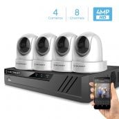 Amcrest 4MP Security Camera System w/ 4K 8CH NVR, (4) x 4-Megapixel Dome WiFi IP Cameras, Pan/Tilt Surveillance, Dualband 5ghz / 2.4ghz, Two-Way Audio, NV4108-IP4M-1051W4 (White)